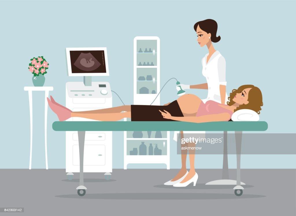Pregnancy ultrasound screening : stock illustration