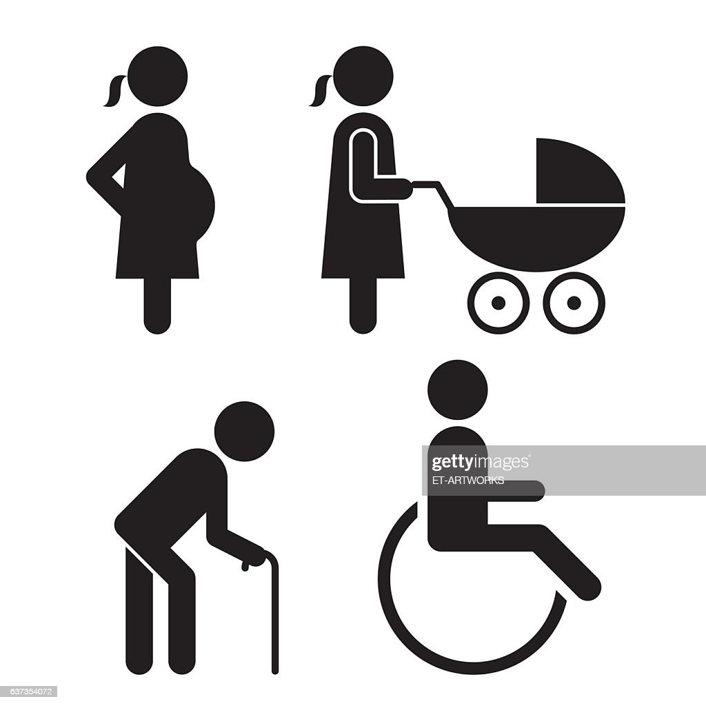 Pregnant, baby carriage, Walking stick and wheelchair Icons