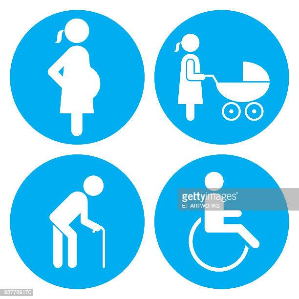 pregnant, baby carriage, walking stick and wheelchair icons - wheelchair stock illustrations, clip art, cartoons, & icons