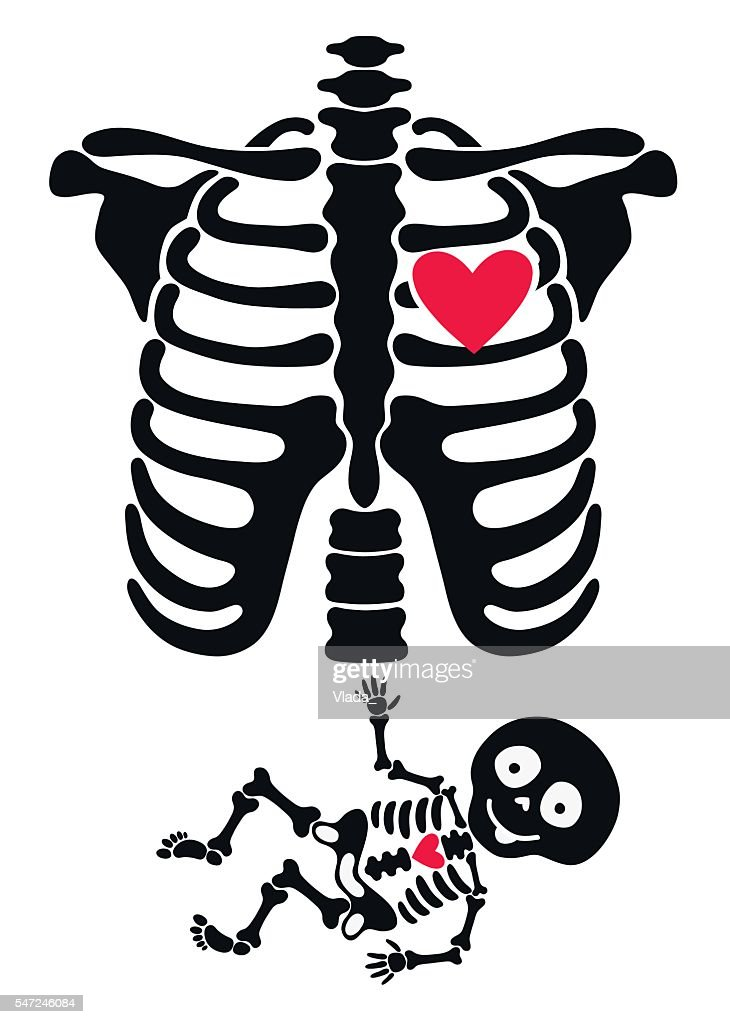 Pregnant. Funny skeletons mom and baby