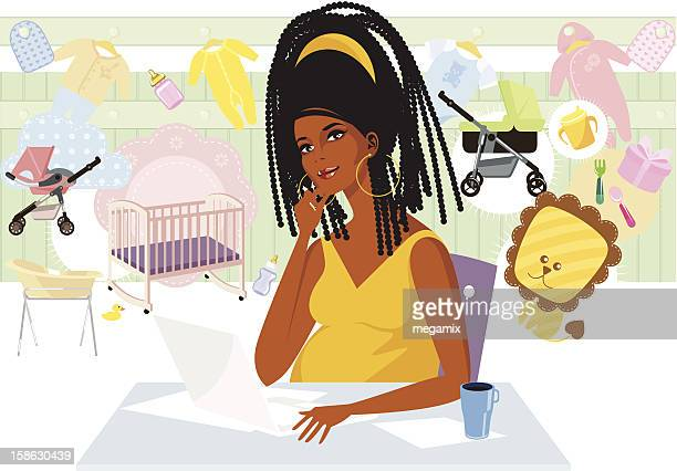 pregnant lady buying online. - braided hair stock illustrations, clip art, cartoons, & icons
