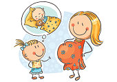 Pregnant mother and little daughter talking about the future baby, vector illustration