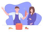 Pregnant wife, husband prepares food