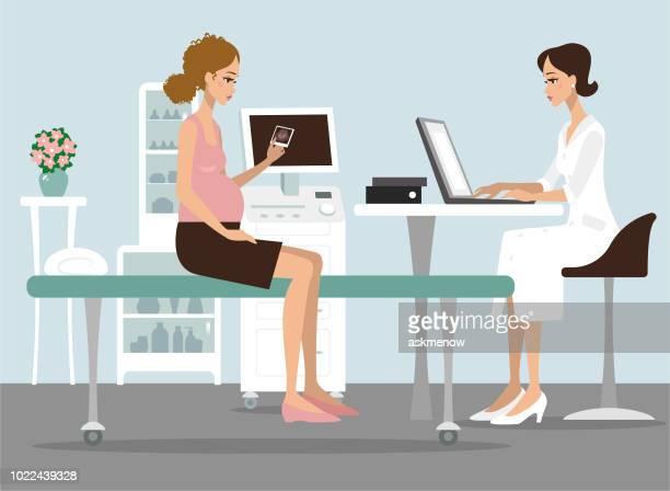 診察で妊娠中の女性