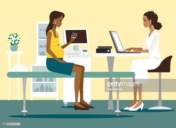 pregnant woman at doctor's - pregnant stock illustrations