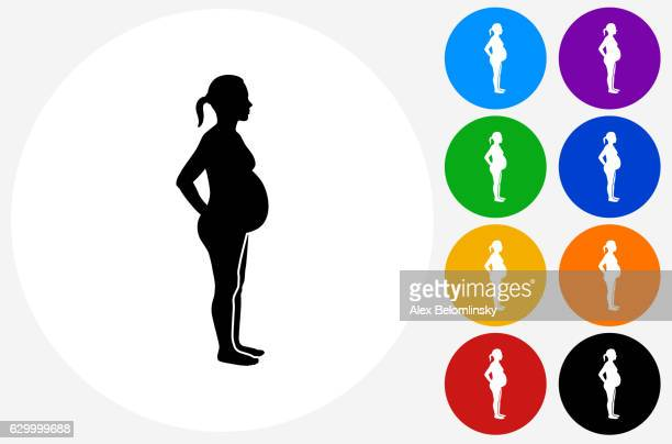 Pregnant Woman Icon on Flat Color Circle Buttons
