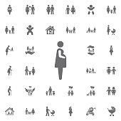 Pregnant woman icon vector illustration. Set of family icons