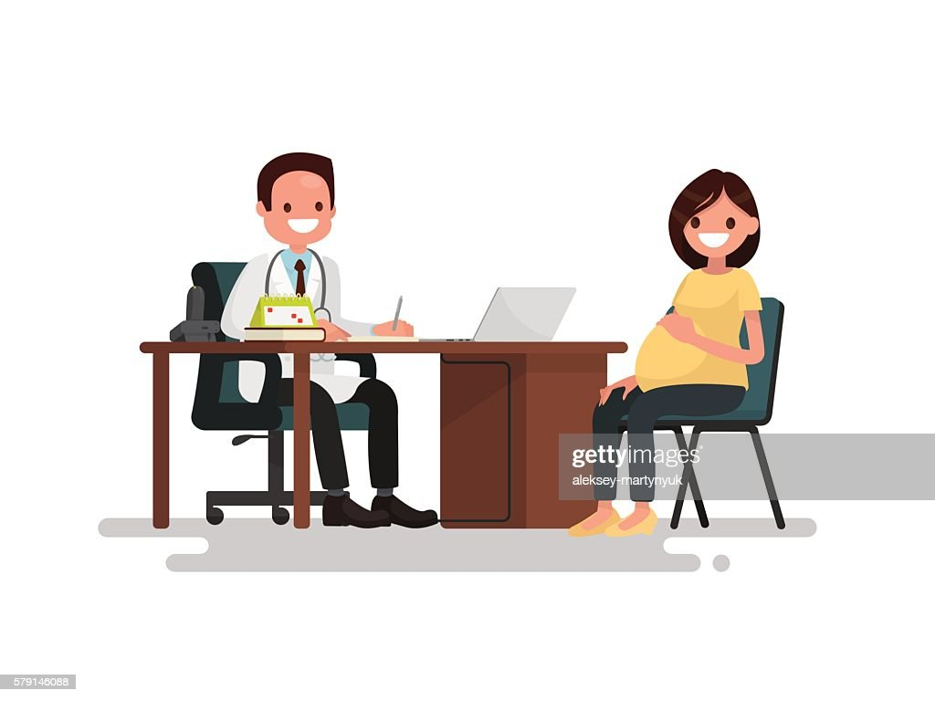 Pregnant woman on reception at the doctor. Vector illustration