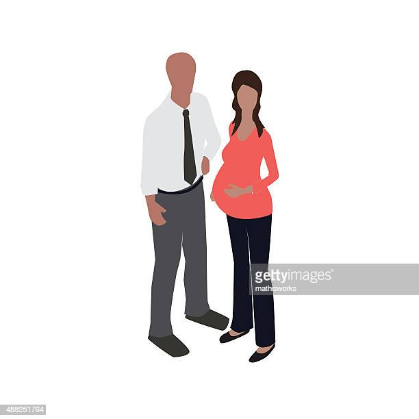 pregnant woman with man - mathisworks stock illustrations