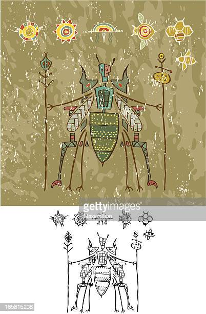 prehistoric cave painting bee god on throne - queen bee stock illustrations