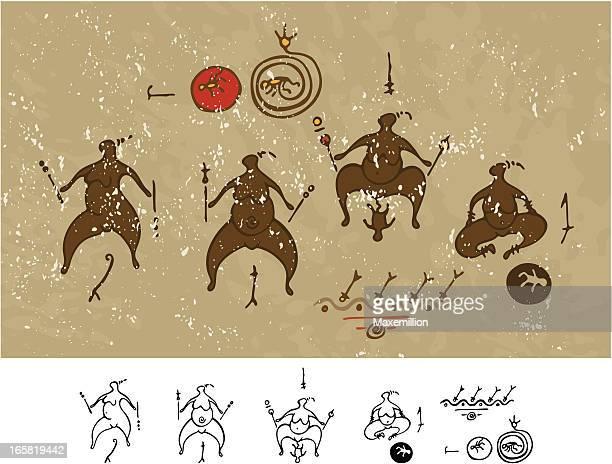 ilustraciones, imágenes clip art, dibujos animados e iconos de stock de prehistórica pintura rupestre nacimiento rites - pintura rupestre