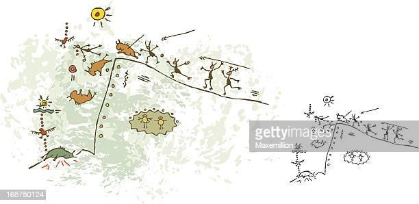 prehistoric cave painting buffallo hunt - european bison stock illustrations, clip art, cartoons, & icons