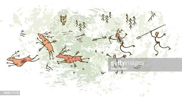 ilustraciones, imágenes clip art, dibujos animados e iconos de stock de pintura rupestre deerhunt prehistórica - pintura rupestre