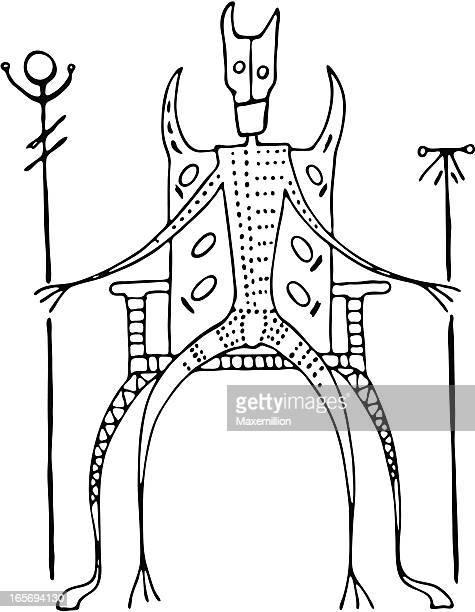 illustrations, cliparts, dessins animés et icônes de peinture de la grotte préhistorique avec très grand lit au trône - masque africain