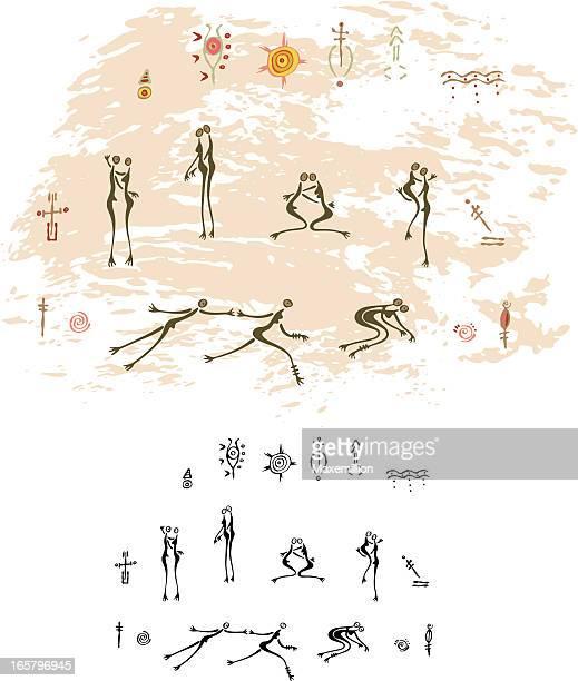ilustraciones, imágenes clip art, dibujos animados e iconos de stock de prehistórica pintura rupestre love - pintura rupestre