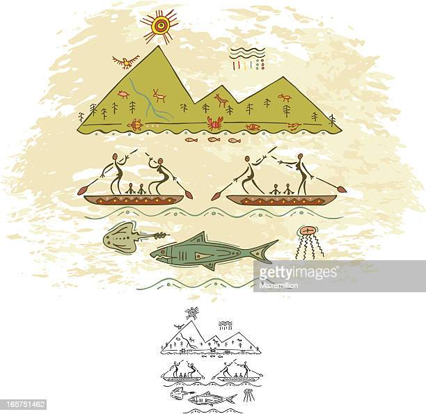 prehistoric cave painting new home - cave painting stock illustrations