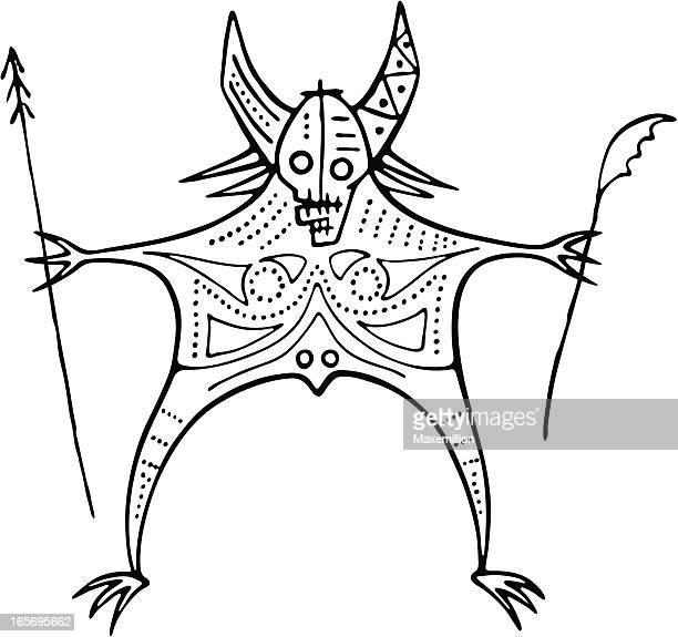 Prehistoric Cave Painting Shaman Demon