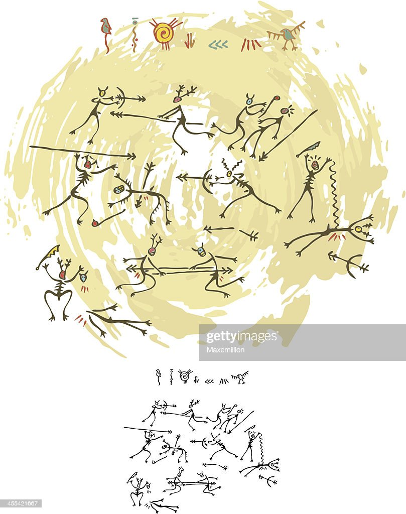 Prehistoric Cave Painting Tribal War