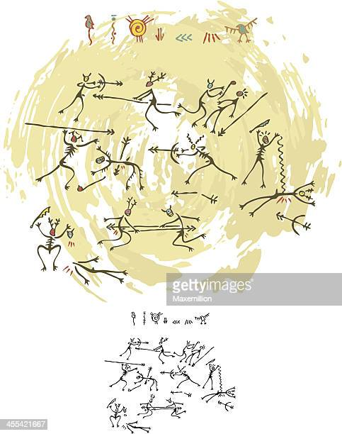 prehistoric cave painting tribal war - cave painting stock illustrations