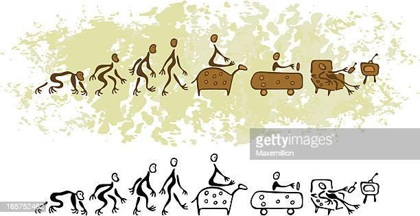 ilustraciones, imágenes clip art, dibujos animados e iconos de stock de prehistóricas pintura rupestre visión futuro de man - pintura rupestre