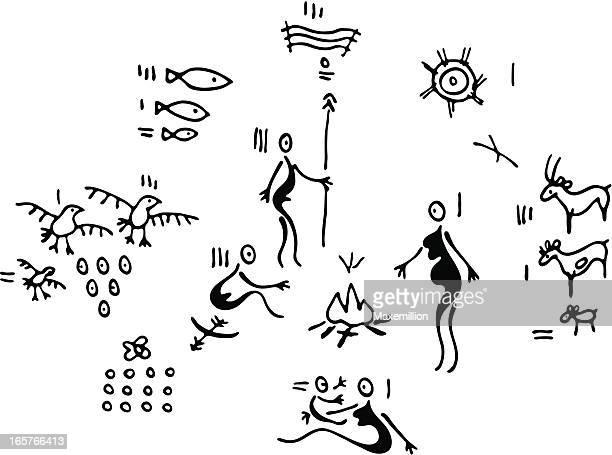ilustraciones, imágenes clip art, dibujos animados e iconos de stock de prehistórica la vida familiar - pintura rupestre