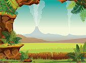 Prehistoric landscape - cave, fern, volcano