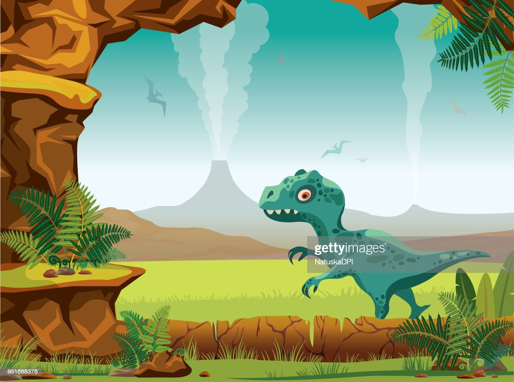 Prehistoric landscape - cave, volcano, dinosaurs, tyrannosaur.