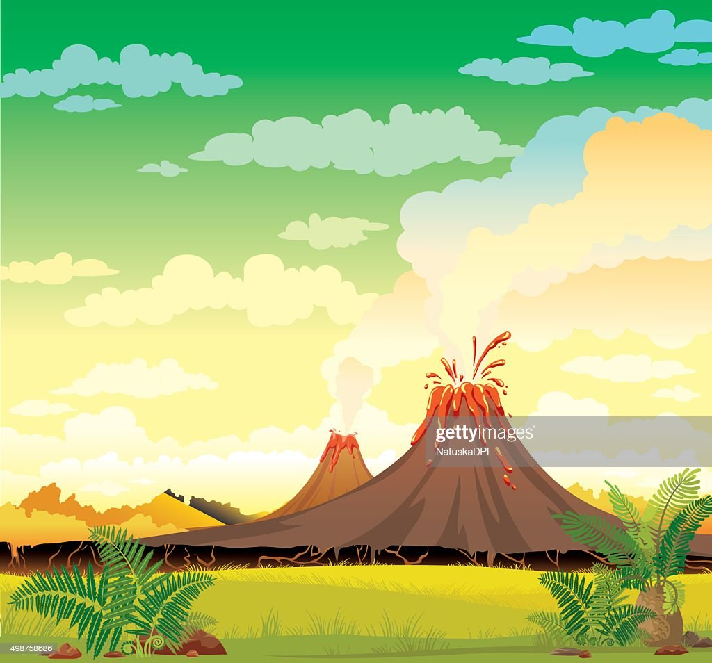 Prehistoric landscape - smoky volcanoes.