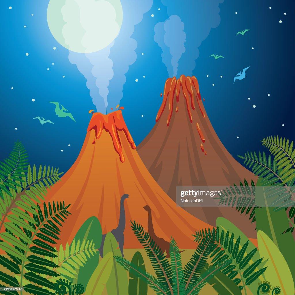 Prehistoric nature landscape - volcanoes, dinosaurs, fern.