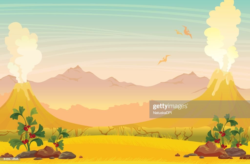 Prehistoric nature landscape - volcanoes, pterodactyls and mountains.