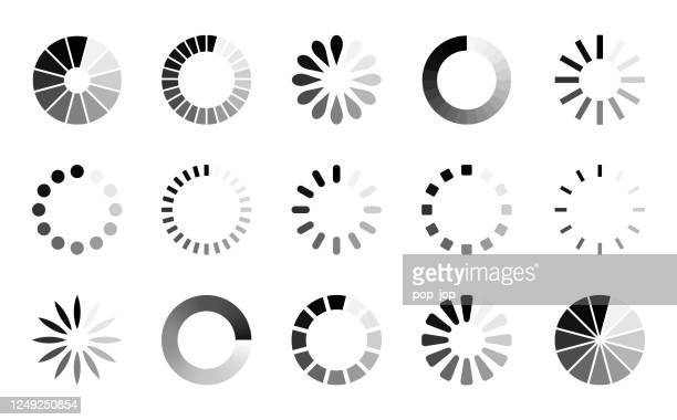 preloader icon set - vector collection of loading progress round bars - stream stock illustrations