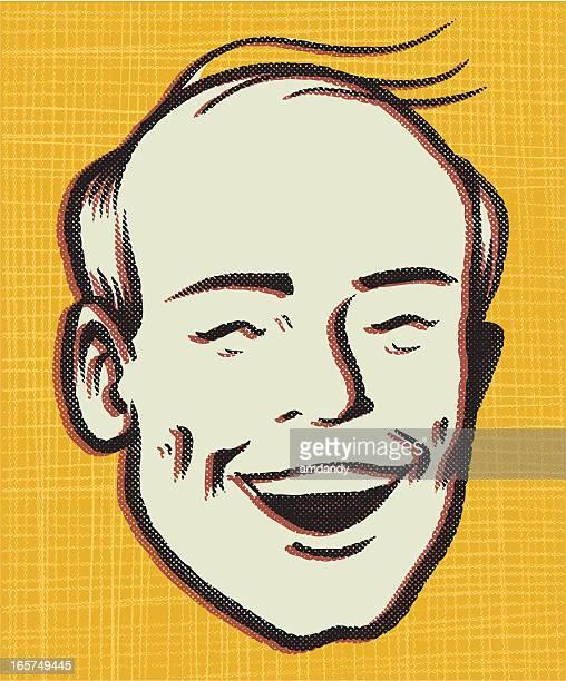 premature retro balding - balding stock illustrations, clip art, cartoons, & icons