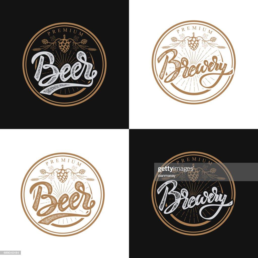 premium beer emblems. Handwritten lettering label, badge.Vector illustration.