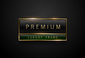 Premium black green label with golden frame on black geometric background. Dark luxury logo template. Vector illustration.