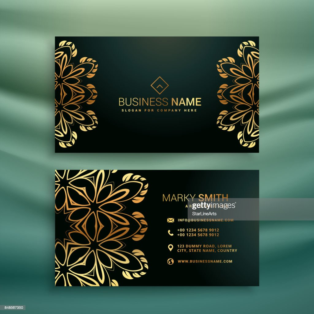 Premium Business Card With Golden Floral Design Vector Art Getty