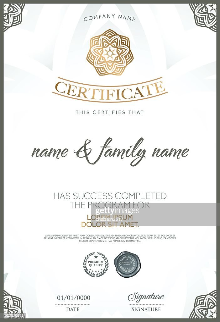 Premium Certificate Template Vector Art Getty Images