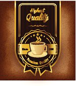 Premium coffee label design over vintage background