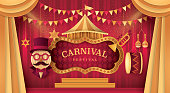 Premium Curtains stage with Circus Frame Bordor, Day Scene Carnival festival