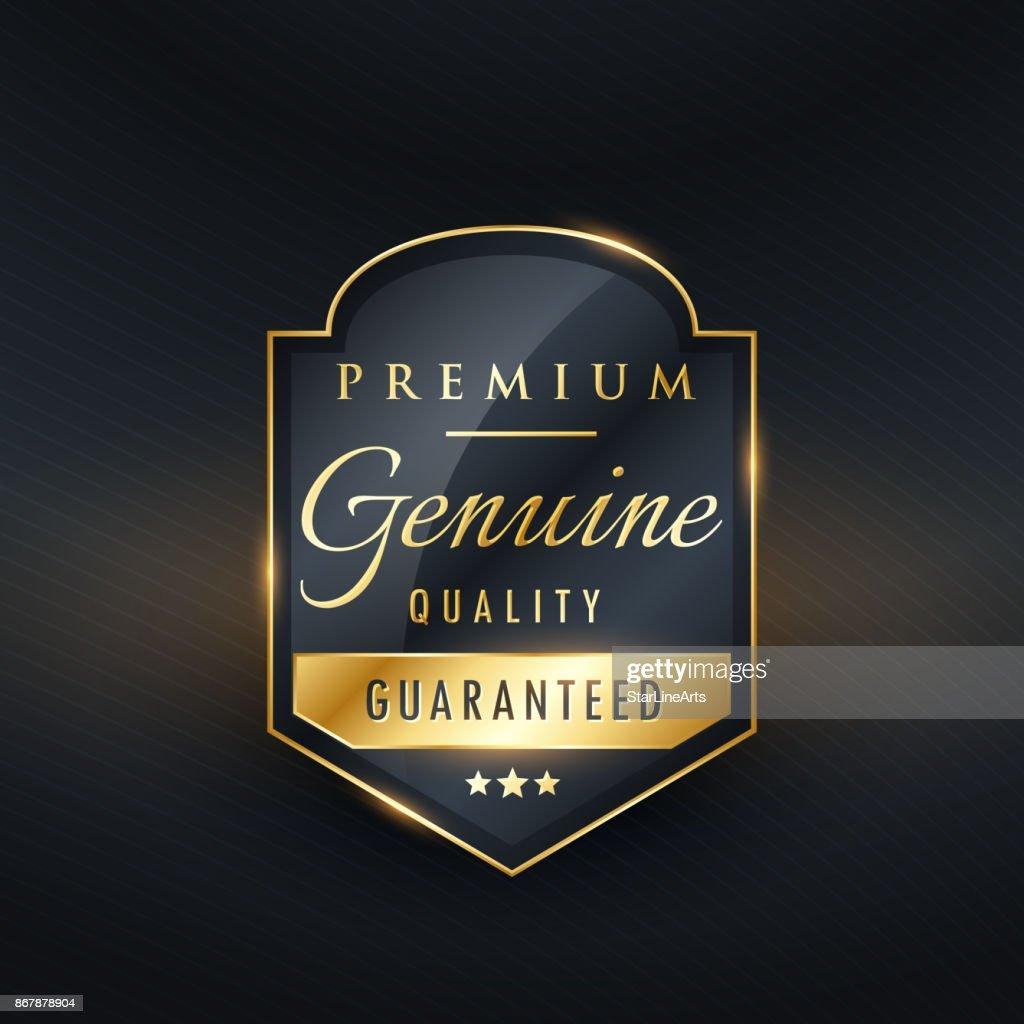premium genuine quality golden label design