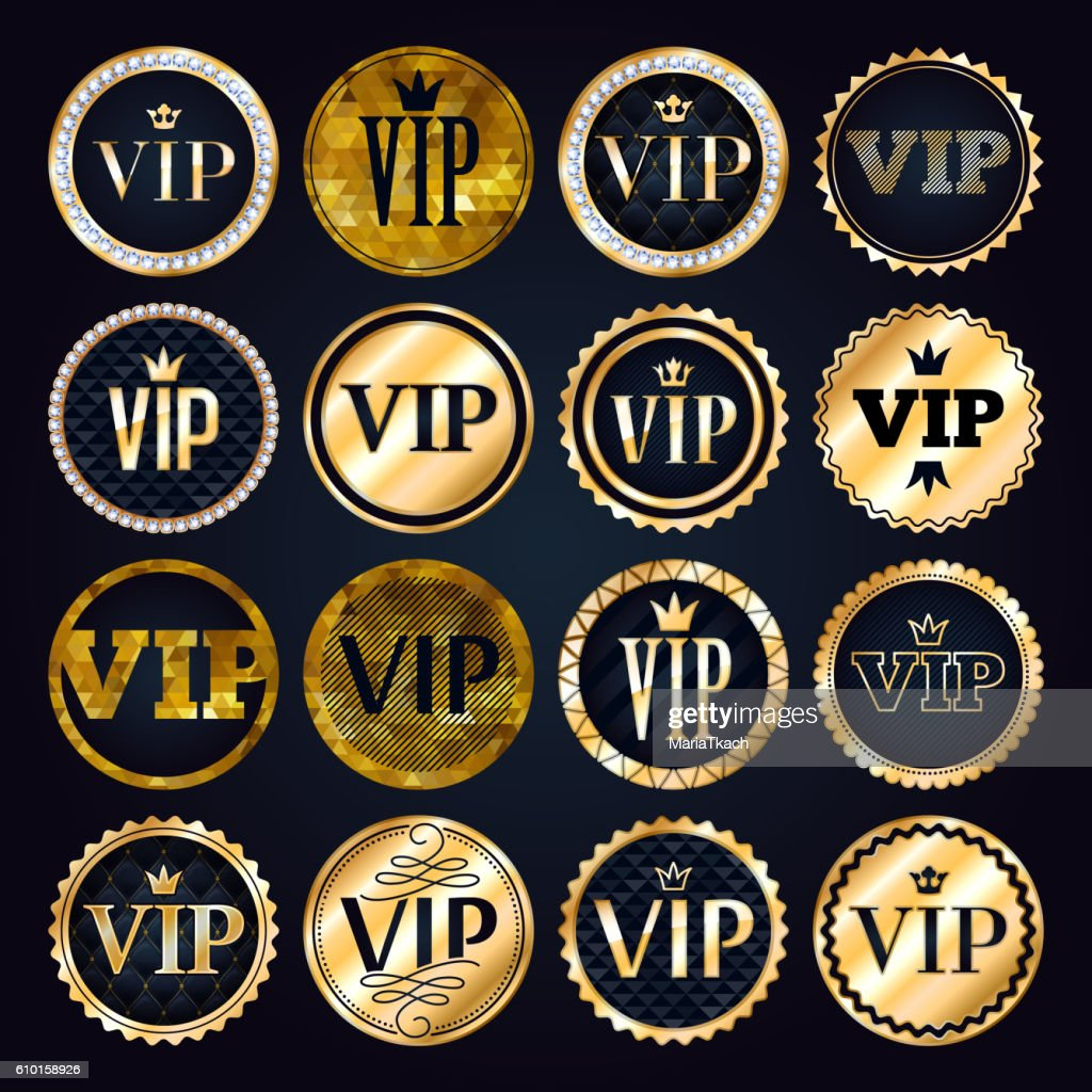 VIP premium golden badges set.