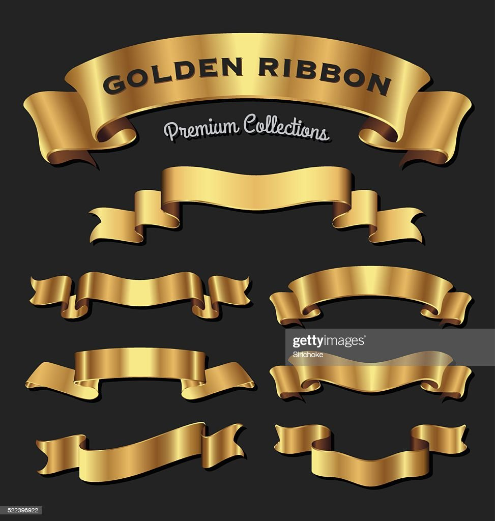 Premium golden ribbons for your design