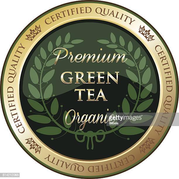 premium green tea label - green tea stock illustrations, clip art, cartoons, & icons