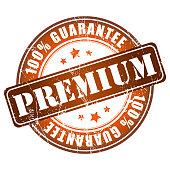 Premium guarantee stamp.