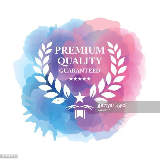 premium-emblem auf aquarell hintergrund garantiert - hingabe stock-grafiken, -clipart, -cartoons und -symbole