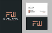 Premium letter FW logo with an elegant corporate identity template