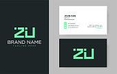 Premium letter ZU logo with an elegant corporate identity template