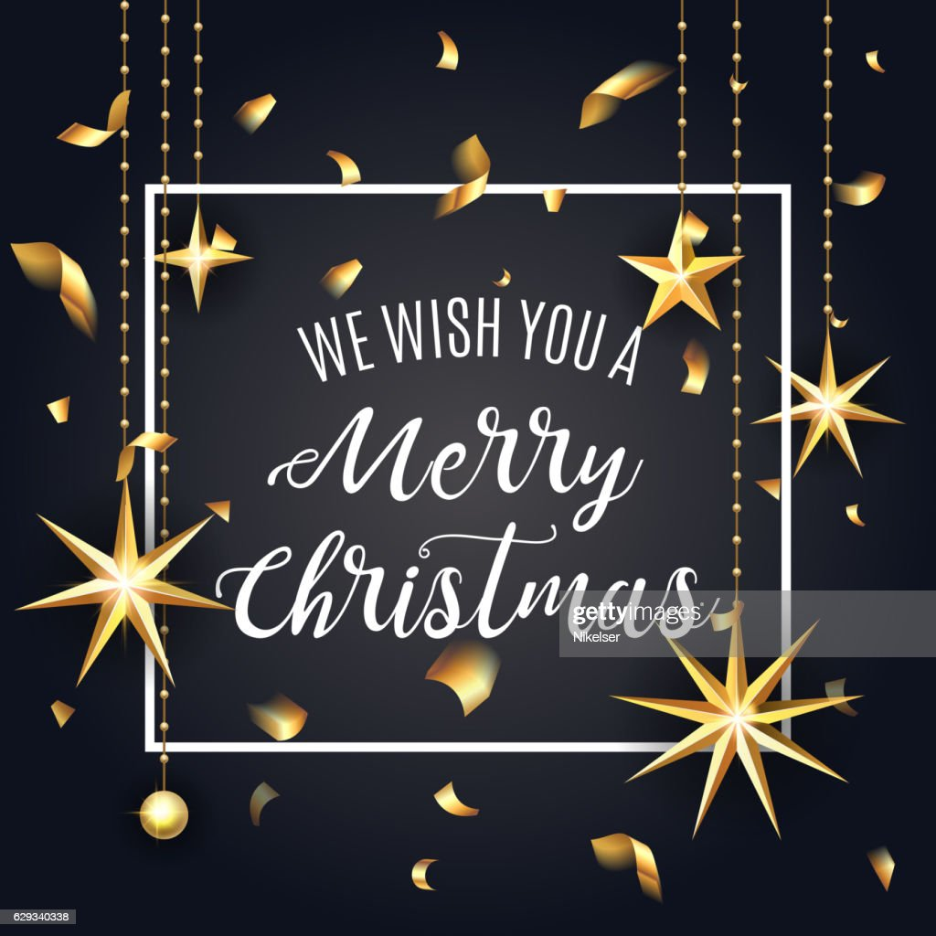 Premium luxury Merry Christmas holiday greeting card