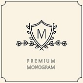 Premium Modern monogram, emblem, logo with a laurel wreath