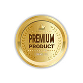 Premium Product Sign High Quality Sticker Golden Medal Icon Isolated
