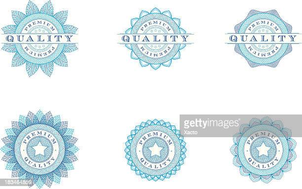 premium quality badges - vector illustrations - id card template stock illustrations